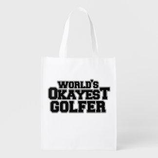 World's okayest golfer reusable grocery bag