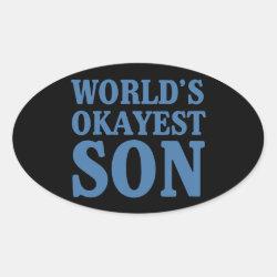 Oval Sticker with World's Okayest Son design