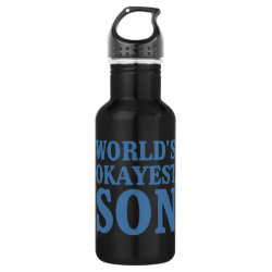 Water Bottle (24 oz) with World's Okayest Son design