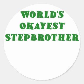 Worlds Okayest Stepbrother Classic Round Sticker