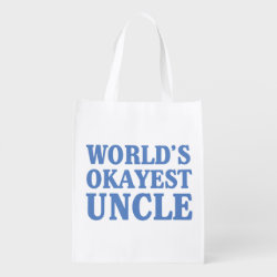 Reusable Grocery Bag with World's Okayest Uncle design