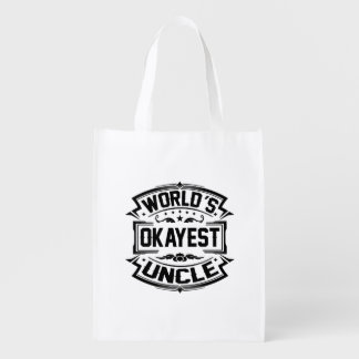 World's Okayest Uncle Reusable Grocery Bag