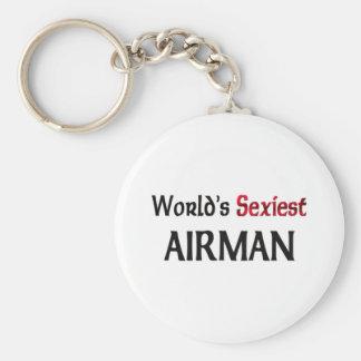 World's Sexiest Airman Basic Round Button Keychain