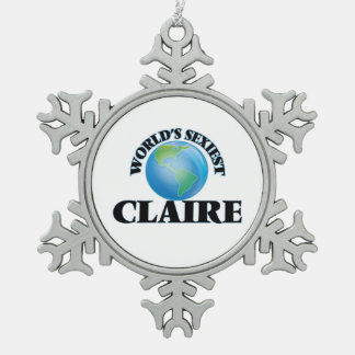 World's Sexiest Claire Snowflake Pewter Christmas Ornament