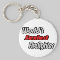 World's Sexiest Firefighter Basic Round Button Keychain