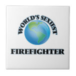 World's Sexiest Firefighter Small Square Tile