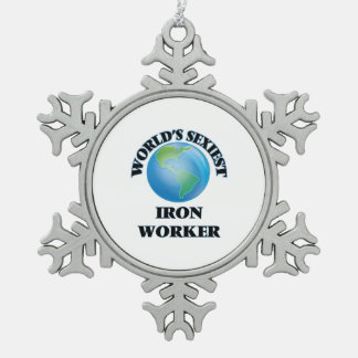 World's Sexiest Iron Worker Snowflake Pewter Christmas Ornament