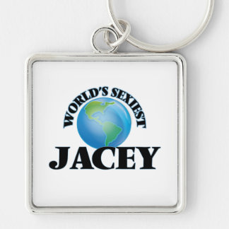 World's Sexiest Jacey Silver-Colored Square Keychain