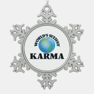 World's Sexiest Karma Snowflake Pewter Christmas Ornament
