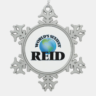 World's Sexiest Reid Snowflake Pewter Christmas Ornament