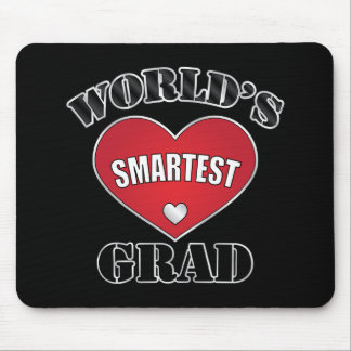 World's Smartest Grad Silver Red Heart Mouse Pad
