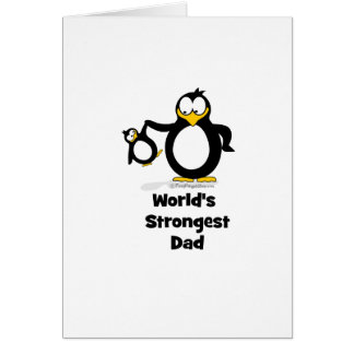 worlds strongest dad penguin greeting card