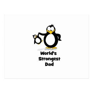worlds strongest dad penguin postcard