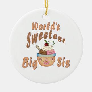 World's Sweetest Big Sis Sundae Ceramic Ornament