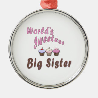 World's Sweetest Big Sister Cupcakes Metal Ornament