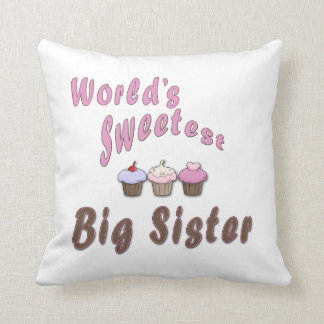 World's Sweetest Big Sister Cupcakes Throw Pillow