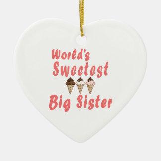 World's Sweetest Big Sister Ice Cream Cones Ceramic Ornament