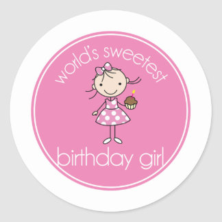 Worlds sweetest birthday girl classic round sticker