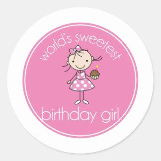 Worlds sweetest birthday girl classic round sticker