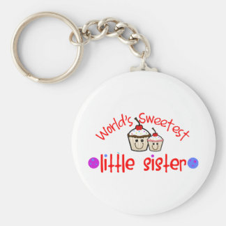 World's Sweetest Little Sister Cupcakes Keychain