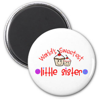 World's Sweetest Little Sister Cupcakes Magnet