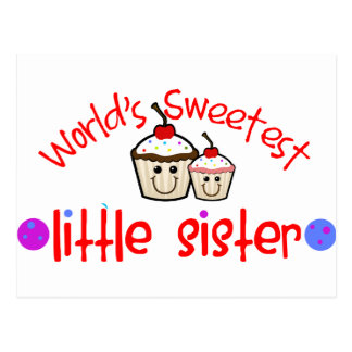World's Sweetest Little Sister Cupcakes Postcard