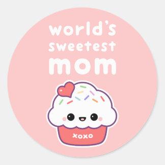 World's Sweetest Mom Classic Round Sticker