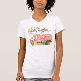World's Sweetest Mom Cupcake Edition Pattern T-Shirt