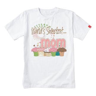 World's Sweetest Mom Cupcake Edition Pattern Zazzle HEART T-Shirt