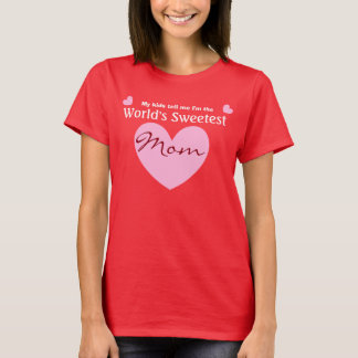 World's SWEETEST MOM Pink Heart V06 RED Shirt