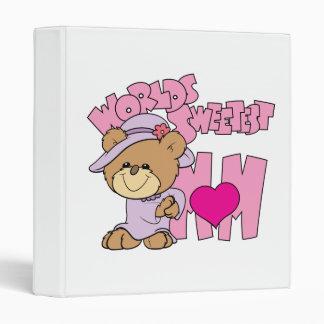 worlds sweetest mom teddy bear design 3 ring binder