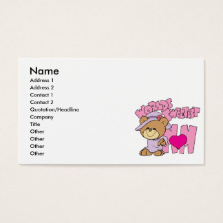 worlds sweetest mom teddy bear design business card
