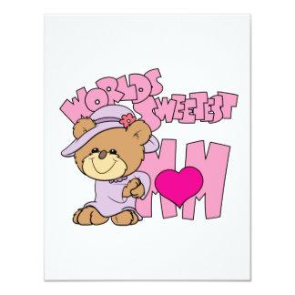 worlds sweetest mom teddy bear design 4.25x5.5 paper invitation card