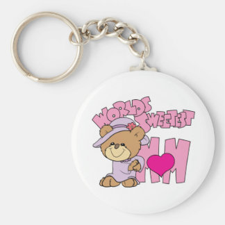 worlds sweetest mom teddy bear design keychain