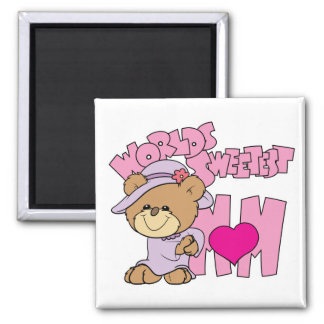 worlds sweetest mom teddy bear design refrigerator magnets