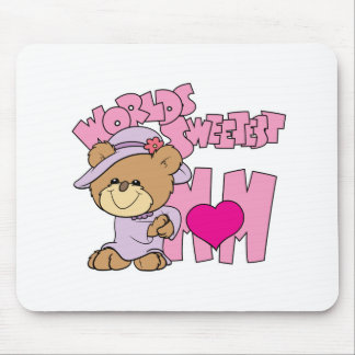 worlds sweetest mom teddy bear design mouse pad