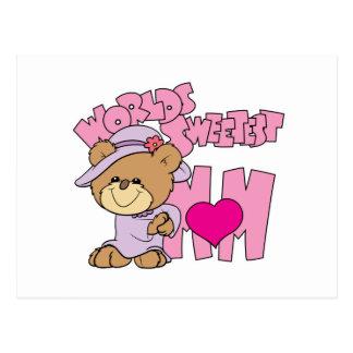 worlds sweetest mom teddy bear design postcards