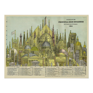 Worlds Tallest Buildings 1884 Vintage Poster