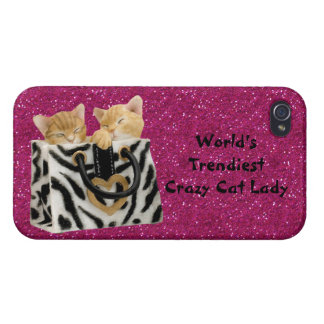 World's Trendiest Crazy Cat Lady Pink Glitter Covers For iPhone 4