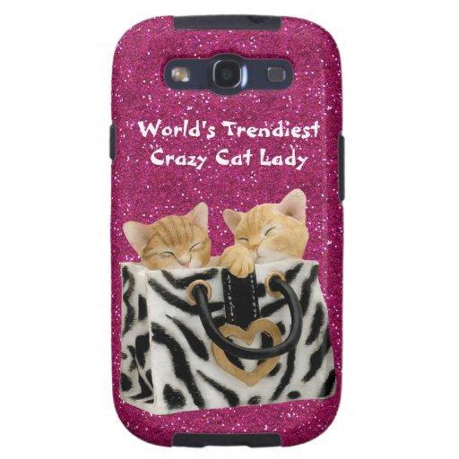 World's Trendiest Crazy Cat Lady Pink Glitter Samsung Galaxy S3 Case