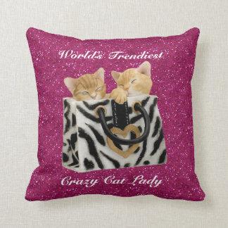 World's Trendiest Crazy Cat Lady Pink Glitter Throw Pillow