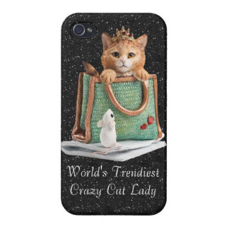 World's Trendiest Crazy Cat Lady Princess Kitten Cover For iPhone 4