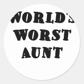 Worlds Worst Aunt Round Sticker