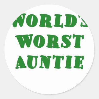 Worlds Worst Auntie Classic Round Sticker