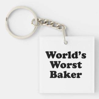 World's Worst Baker Single-Sided Square Acrylic Keychain