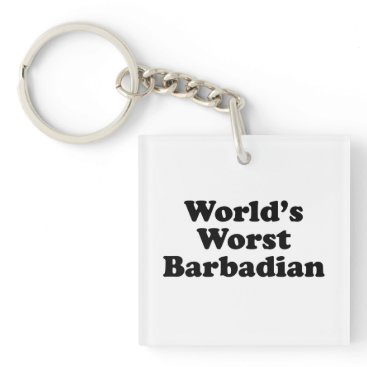 Beach Themed World's Worst Barbadian Keychain