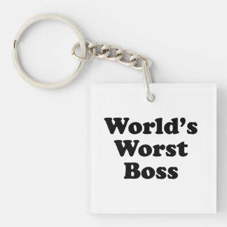 World's Worst Boss Single-Sided Square Acrylic Keychain