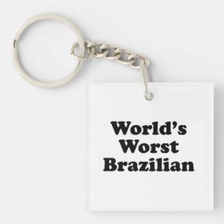 World's Worst Brazilan Single-Sided Square Acrylic Keychain