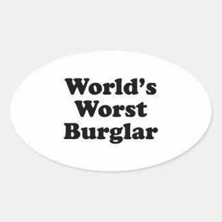 World's Worst Burglar Oval Sticker