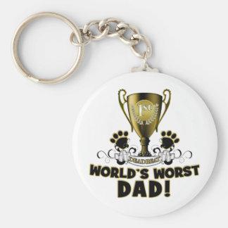 World's Worst Dad Basic Round Button Keychain